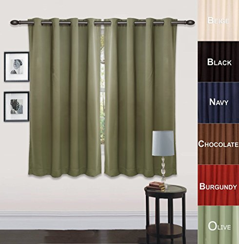 Utopia Bedding Grommet Top Thermal Insulated Blackout Curtains, Set of ...
