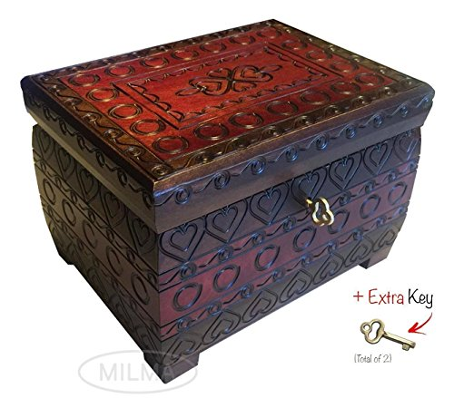 Polish Handmade Burned Chest w/ Lock & Key Linden Wood Jewelry Heart Keepsake Box (Linden Wood compare prices)