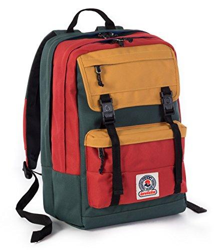 ZAINO INVICTA - DUFFY - Rosso Verde Giallo - tasca porta pc e Tablet padded - scuola e tempo libero 30 LT