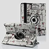 Ctech Fashionate Beauty Case With 360 degrees Rotating Swivel Stand for iPad 3 / The New iPad (3rd Generation) /iPad 2 (Supports Auto Sleep/Wake Function)