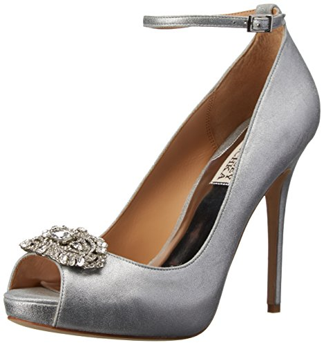Badgley Mischka Women's Finley II Platform Pump, Silver/Metallic Suede, 8 M US