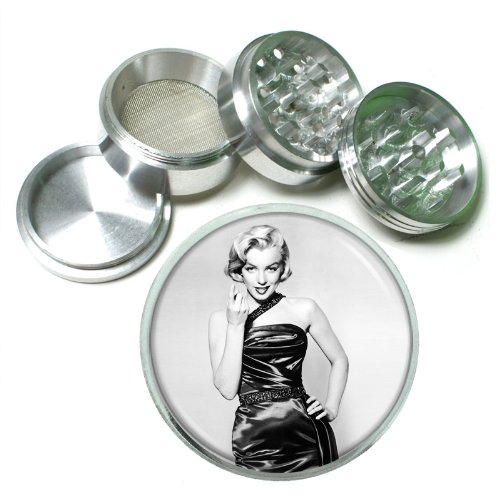 "63Mm 2.5"" 4 Pc Aluminum Sifter Magnetic Herb Grinder Marilyn Monroe Design-051"