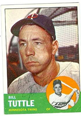 Bill Tuttle autographed baseball card (Minnesota Twins) 1963 Topps #127 very light signature (67)