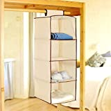 PINDIA FANCY & FOLDABLE 4 LAYER CREAM HANGING STORAGE WARDROBE ALMIRAH