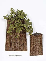 Pack of 4 Spring Serenity Brown Rattan Hanging Wall Pocket Baskets