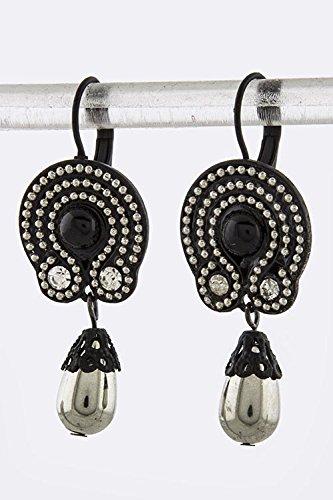 Karmas Canvas Crystal Metal Beaded Drop Earrings (Black/Silver)