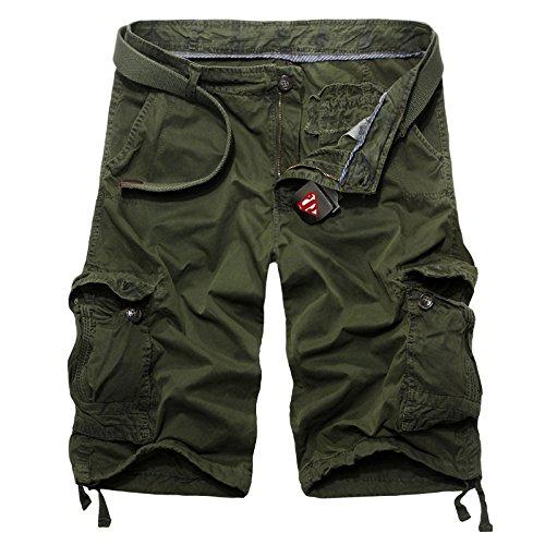 GG Loose cinque tempo libero Shorts. da uomo tinta unita tasca cargo pantaloni, ARMYGREEN-38