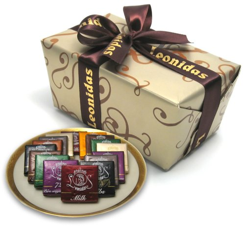 Leonidas Belgian Chocolates: 1 lb Napolitain Sampler Ballotin – Orange, Nibs, Feuilletine, 72% Pure Origin Sao Tome, Milk, White, and Dark Chocolate Squares