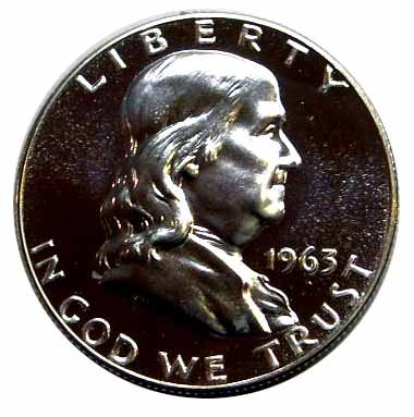 1963 Silver Mirror Proof Franklin Half Dollar