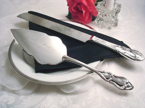 CAKE KNIFE/SERVER SET, SILVER PLATED.