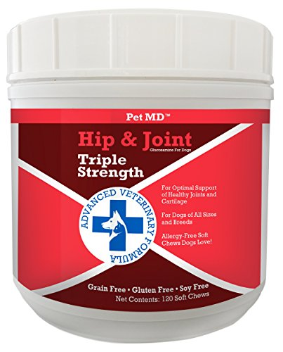 Pet MD Hip and Joint Supplement Glucosamine for Dogs - Triple Strength Allergy Free - 120 Soft Chews (Cosequin Advanced Strength compare prices)