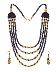 Tribal Collection Black & Gold Color Three Line Traditional Long Necklace Set With Earrings For Women By Lazreena...