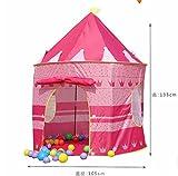 屋内 でも 屋外 でも! 子供 用 可愛い お城テント ピンク & ブルー キッズ (ピンク)