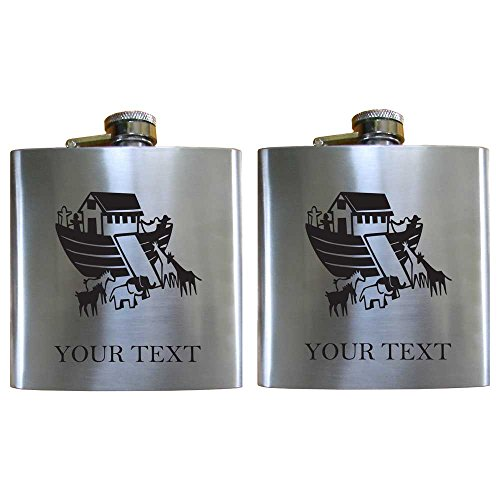 Personalized Engraved Noah'S Ark Two-Pack 6 Oz Stainless Steel Pocket Hip Drinking Flasks For Men And Women Perfect Customizable Holiday Gift Or 21St Birthday Present! Contact Seller For Text Personalization Or Leave A Gift Message At Checkout! back-982191