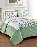 Sunny QUEEN Size Bed 3 Piece Quilted Bedspread Set