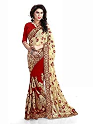 SareeShop Designer Women's Latest Red&White Embroidered Laced Party Wear Saree With Matching Blouse(1118_Red&White_Free Size)