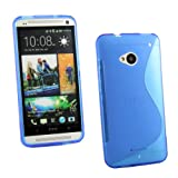 Kit Me Out UK TPU Gel Case + Screen Protector with MicroFibre Cleaning Cloth for HTC One M7 - Blue S Line Wave Pattern