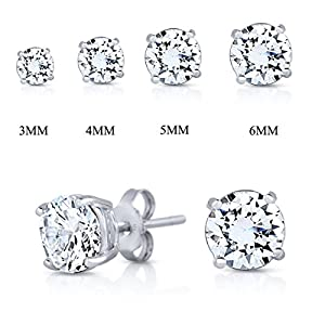 SPOIL CUPID .925 Sterling Silver CZ Simulated Diamond Cubic Zirconia Basket Prong Set Stud Earrings All Size
