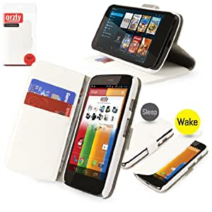 Orzly® - Multi-Function Wallet Stand Case for MOTO G - WHITE Leather Effect Phone Case / Cover / Pouch with Integrated Stand Function and Magnitic Sleep Sensors - Designed exclusively for MOTOROLA MOTO-G SmartPhone (All G Models including Original Moto G Model from 2013 and also new LTE Version from 2014)