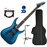 ESP LTD MH-1000 NT STB Electric Guitar Duncan w/Deluxe Gig Bag, Tuner, Stand and 30' American Stage Cable