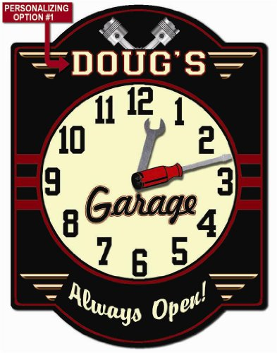 Garage - Personalized Hardboard Clock Sign From Redeye Laserworks