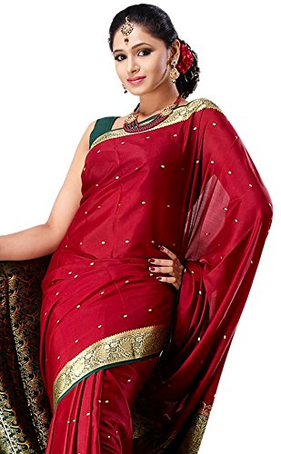 Sudarshan Crepe 100% Pure Mysore Traditional Silk Saree (SSSB8_Red)