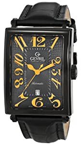 Gevril Men's 5009A Avenue of Americas Automatic-Date Rectangular Black PVD Sapphire Crystal Orange Numbers Alligator Pattern Leather Watch