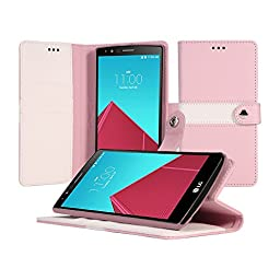 LG G4 Case, AceAbove LG G4 Wallet Case Book Cover Case with Premium Soft PU Leather with Stand Flip Cover and Credit Card Id Holders (Pink/White)