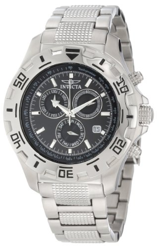 Invicta Specialty Men's Quartz Watch with Black Dial Chronograph Display and Silver Stainless Steel Bracelet 6413