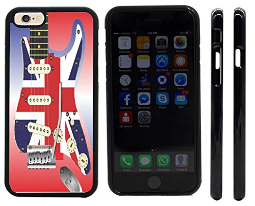 Rikki Knighttm Electric Guitar With A Union Jack Scratchplate Design Iphone 6 Case Cover (Black Rubber With Front Bumper Protection) For Apple Iphone 6