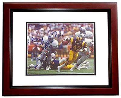 Greg Bell Autographed / Hand Signed Los Angeles Rams 8x10 Photo - MAHOGANY CUSTOM FRAME