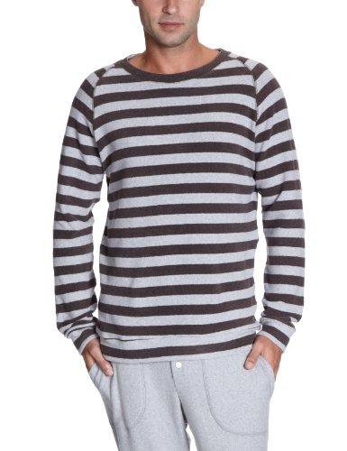 Okha Men's Eric Home Soft Streifen Sweatshirt Multicoloured (Streifen Grau-Braun) 50
