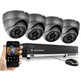 Amcrest 960H 4CH Video Security System - Four 800+ TVL Dome IP66 Weatherproof Cameras (Black)