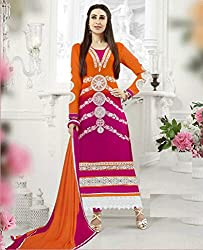 Eye Catching Shaded Orange and Magenta Semi Stitched Suit Material