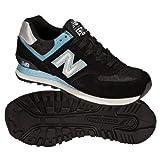 New Balance Women's WL574 Sneaker,Black Blue,8.5 B(M) US
