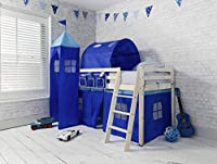 Cabin Bed Mid Sleeper in Blue with Tent, Tower, Tunnel and Bed Tidy 57BL-FM
