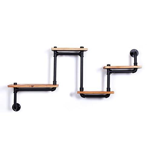 Ferro Tubo solido ammissione di legno scaffalature Cucina Rack parete di immagazzinaggio dell'esposizione ( colore : G. )