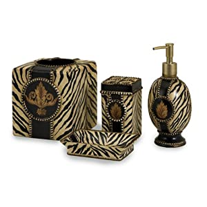 Set of 4 Funky & Fun Zebra Animal Print Bathroom Accessories