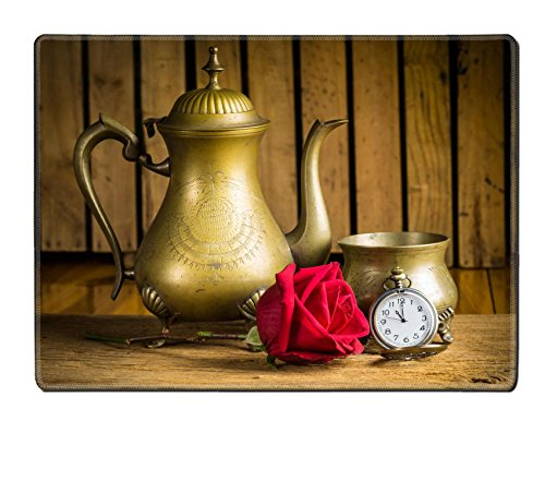 Luxlady Natural Rubber Placemat IMAGE ID: 25518359 Still life with antique brass ware tea pot bowl red rose bud and pocket watch