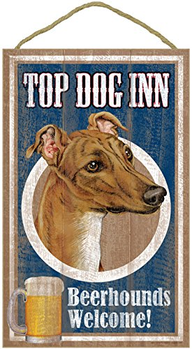 sjt27941-greyhound-brown-color-top-dog-inn-10-x-16-wood-plaque-sign