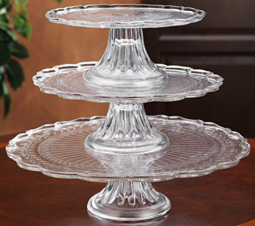 1, 2, or 3 tiers Stackable Glass Scalloped Edge Cake or Cupcake Stand or Individual Cake Plates (Glass Cake Stands compare prices)