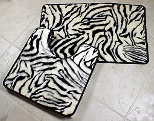 Zebra Faux Fur Bath Rug Set - 2 Piece