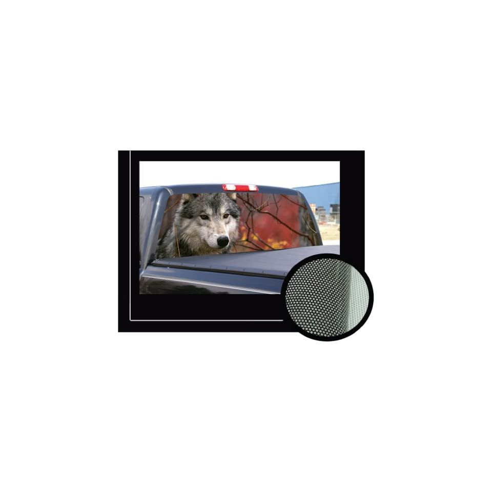Gray wolf 16x54 rear window graphic compact pickup truck decal tint wolves view thru vinyl