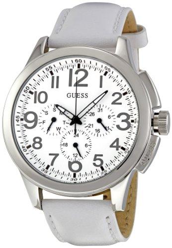 Guess W10562G4 - Reloj cronógrafo de cuarzo para hombre con correa de piel, color blanco
