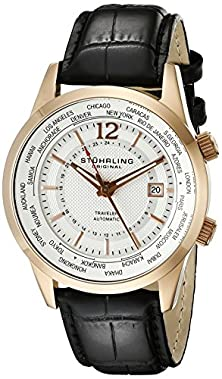 buy Stuhrling Original Men'S 277.33452 Classic Traveler Explorer Automatic World Time Date Rose Tone Watch