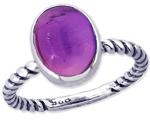 Twisted Sterling Silver Stackable Ring with Large Oval Cabochon Genuine Gemstone-Amethyst/Cabochon-in full,half,quarter sizes from 3.5 to 12_5.25