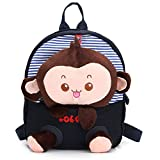 1024906 Cartoon Baby Girls Boys Soft Plush Preschool Backpack Kids Cute Monkey Tiger Design Shoulder Bags Outdoor Travel Food Bag Children School Book Bag Kid Gift Dark Blue Monkey