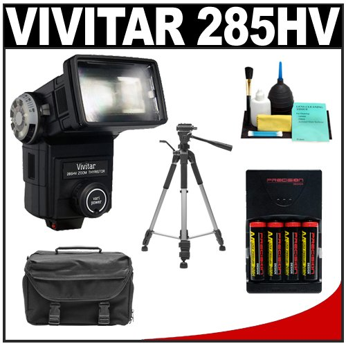 Vivitar 285HV High Power Auto Zoom Thyristor Flash + Gadget Bag + (4) AA Batteries & Charger + Tripod for Canon EOS 7D, 5D, 60D, 50D, Rebel T3, T3i, T2i, T1i, XS Digital SLR Cameras