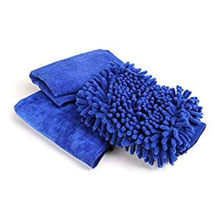 Magicfly Car Wash Mitt - Microfiber Car Cleaning Cloth with Free Wax Car Cloth and Fast Drying Towel - Premium Quality Cleaning Cloth for Car, Wood, Mirrors, Furniture & Glass