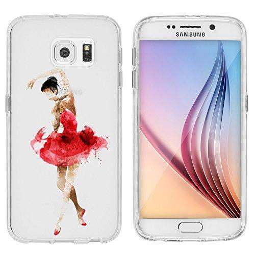 """'Cover per Samsung Galaxy S65,1""""/S75,1TPU per licaso® Samsung S6Case Sketch trasparente chiara per cellulare GalaxyS6Custodia in silicone Samsung Galaxy S6 Ballerina rot schwarz"""